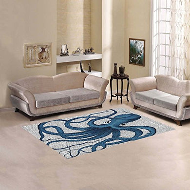 Jc-Dress Area Rug Cover Blue Octopus Modern Carpet Cover 5'X3'3