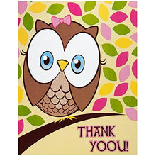 Load image into Gallery viewer, 1St Birthday Owl Party Look Whoo'S 1 Pink Thank-You Notes (8)