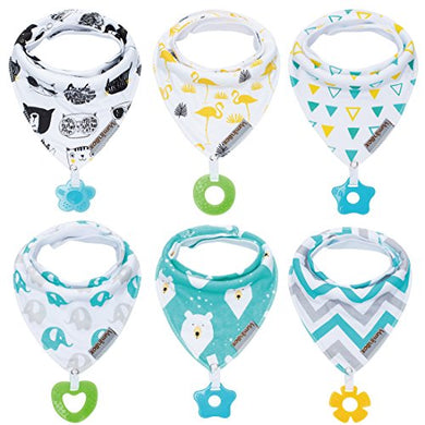 Baby Bandana Drool Bibs And Teething Toys Made With 100% Organic Cotton, Super Absorbent And Soft Unisex (Vuminbox)