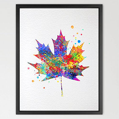 Dignovel Studios 8X10 Maple Tree Leaf Watercolor Illustration Art Print Wall Art Poster Nursery Art Decor Print Wall Hanging Kids Art Wedding Birthday Gift N056