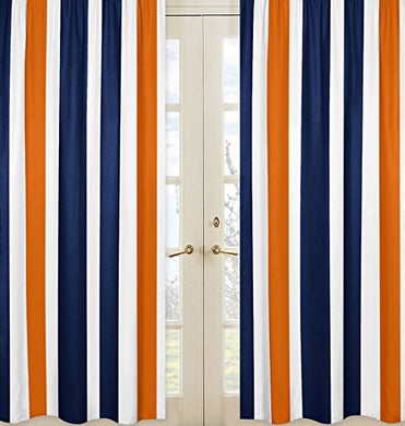 Navy Blue, Orange And White Window Treatment Panels For Stripe Collection - Set Of 2