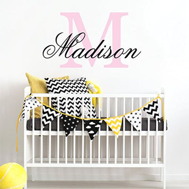 Nursery Custom Name Wall Decal Sticker, 16  W By 11  H, Girl Name Wall Decal, Girls Name, Wall Decor, Personalized, Girls Name Decor, Girls Nursery, Girls Bedroom, Plus Free White Hello Door Decal