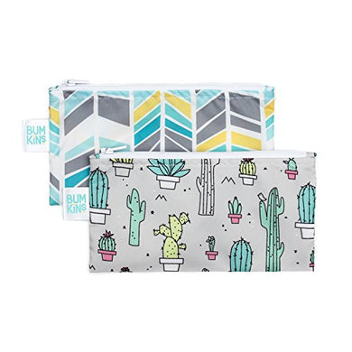 Bumkins Snack Bags, Reusable, Washable, Food Safe, Bpa Free,  Cactus &Amp; Quill