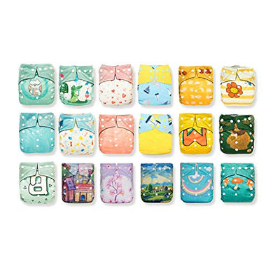 Kawaii Baby Shells One Size Printed Snap Adjustable Leak-Proof Panel Washable Pocket Diaper Shells For 8-36 Lbs| Reusable| Waterproof