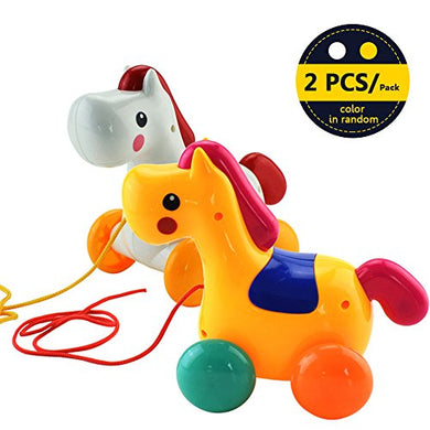Sealive Pull Toys Funny Pony Horse Walk Along Toy For Kids Toddlers,Cute Animals Plastic Push Pull Toys Early Learning Walking Walker For Baby Girl Boy(Random Color)
