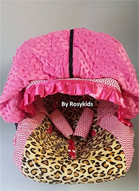 Rosy Kids Infant Carseat Canopy Cover 4Pc Whole Caboodle, Baby Car Seat Cover And Canopy Cover Outdoor Traveling Kit, Cheetah Print And Hot Pink Chevron