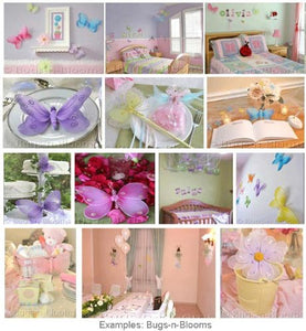 Hanging Butterfly 13 Large Pink Painted Nylon Butterflies Decorations Decorate Baby Nursery Bedroom Girls Room Ceiling Wall Decor Wedding Birthday Party Baby Shower Bathroom Kids Childrens 3D Art Diy