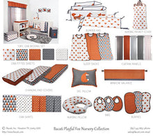 Load image into Gallery viewer, Bacati - Playful Foxes Orange Changing Pad Cover (Orange/Grey Fox With Triangles In Gussett)