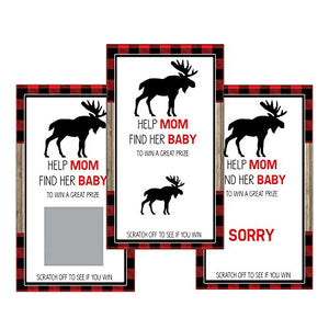 Set Of 12 Scratch Off Game Cards For Baby Shower Games With Moose And Red Flannel Sc313