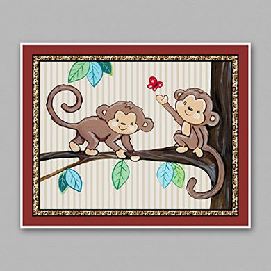Treetop Jungle Animal Buddies Nursery Wall Art Prints (8 X10 , Monkeys)