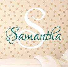 Load image into Gallery viewer, Nursery Custom Name Wall Decal Sticker, 28  W By 25  H, Girl Name Wall Decal, Girls Name, Wall Decor, Personalized, Girls Name Decor, Girls Nursery, Girls Bedroom, Plus Free White Hello Door Decal