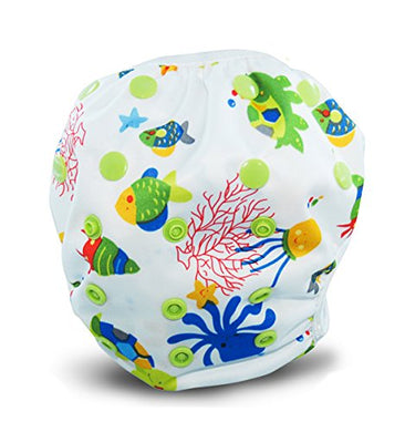 Reusable Swim Diapers - Adjustable For Babies &Amp; Toddlers 0-36 Months Old Boys &Amp; Girls - By Busybabee (Sea Life)
