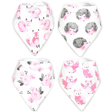 Stadela Baby Adjustable Bandana Drool Bibs For Drooling And Teething Nursery Burp Cloths Baby Shower Gift Set For Girls  Sweet Forest Woodland Animals Fox Owl Hedgehog Floral Flowers