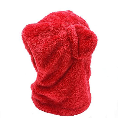 Luckyz 2 In 1 Baby Kids Warm Winter Hats Thick Woolen Earflap Hood Fleece Hat Scarves With Ears, Fits For 8 Monthes To 4 Years Ages, Red Bear