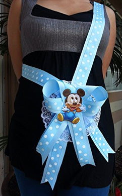 Baby Shower Mickey Mouse Mom To Be It'S A Boy Sash Blue Ribbon And Corsage 1