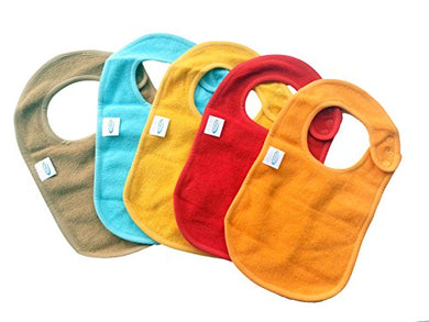 Baby Bibs With Snaps Solid Colors  By Kohars. 100% Cotton Absorbent Reversible Unisex Teething Dribble Bibs. Perfect For Newborn Infant Toddlers &Amp; Baby Shower And Gift Basket
