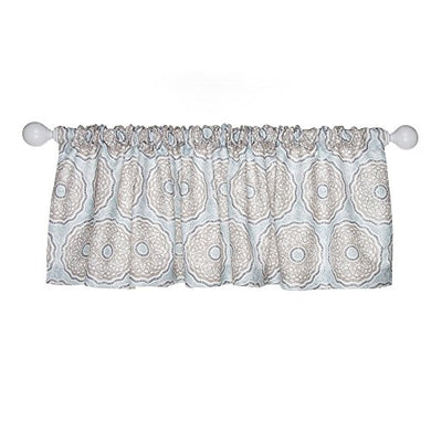 Glenna Jean Luna Window Valance, Blue/Taupe/Grey/Tan