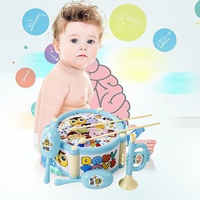 5 Pcs Baby Roll Drum Musical Instruments Kids Band Kit Toy Set For Kids Xmas Gift