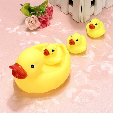 4 Pcs Rainbowkids New Released Baby Bathing Toys Water Floating Squeaky Yellow Rubber Ducks, Children'S Squeaky Toys Play