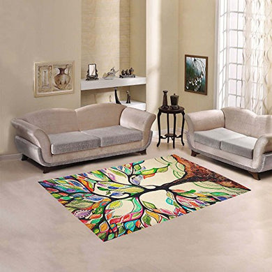 Jc-Dress Area Rug Cover Tree Of Life Modern Carpet Cover 5'3 X4'