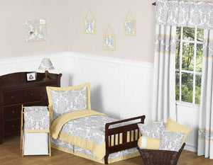 Yellow, Gray And White Damask Print Avery Bed Skirt For Girl Or Boy Toddler Bedding Sets