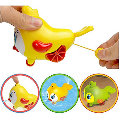 Wind Up Bird Ground Toys,Clockwork Dabbling Toy Baby Bath Water Fun Game Children'S Swimming Bathtub Toy, Pull Spray Water Bath Time Floating Toys Bpa Free,For 3 Months Up