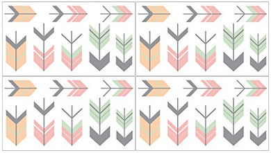 Grey, Coral And Mint Woodland Arrow Baby Girl And Kids Wall Decal Stickers - Set Of 4 Sheets