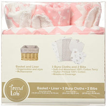 Load image into Gallery viewer, Trend Lab 7 Piece Bib & Burp Feeding Basket Gift Set, Pink Sky