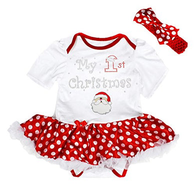My 1St Christmas Baby Dress Santa Claus Red Bodysuit Polka Dots Tutu Set Nb-18M (0-3Month)