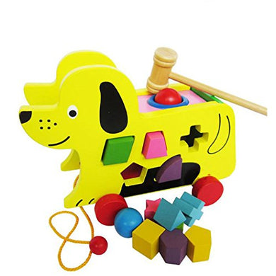 Skk Baby Wooden Pull Along Puppy With With Shape Sorter And Hammer Ball For Toddler Kids
