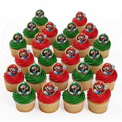 Super Mario Bros Luigi 24 Cupcake Rings Bag Fillers Birthday Party Favors Prizes