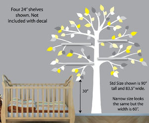 Vinyl Yellow Gray Wall Decals, White Tree Wall Decal, Perfect For Shelf Or Shelving
