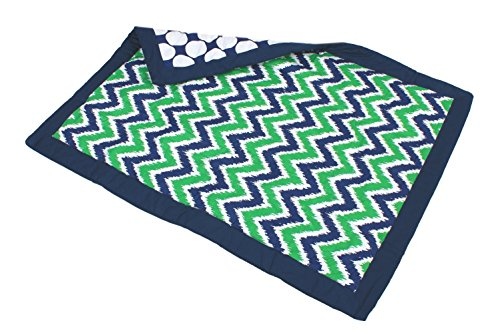 Bacati Mix And Match Zigzag/Large Dots Ikat Crib Comforter Bumper, Navy/Green