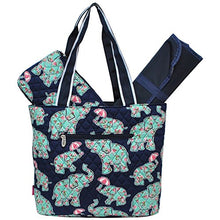 Load image into Gallery viewer, Baby Elephant Umbrella Print Ngil Quilted 3Pc Diaper Bag