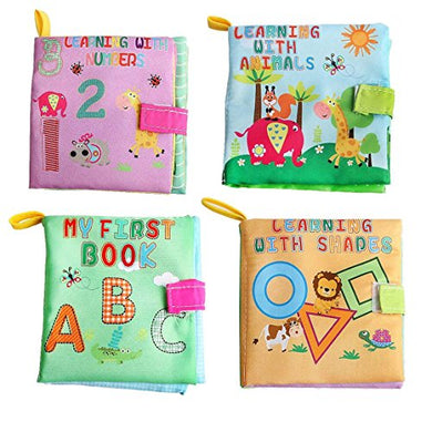 Here Fashion Preschool Children Soft Cloth Book Set, Squeak Rattle Paper Safety Fabric Book, Early Educational Development Stroller Toy For Infant Baby - Set Of 4