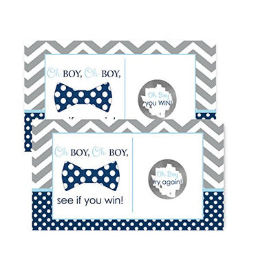 Bow Tie Baby Shower Scratch Off Game Cards Navy &Amp; Grey Chevron