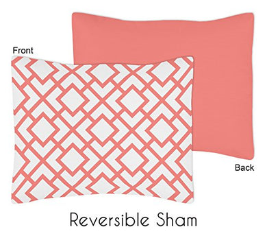 Sweet Jojo Designs Standard Pillow Sham For Modern White And Coral Diamond Geometric Girls Bedding Sets