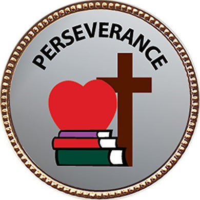 Perseverance Award, 1 Inch Dia Gold Pin  Character Studies Collection  By Keepsake Awards