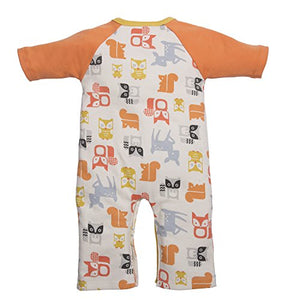 C.R. Gibson Dear One Asymmetrical Sleep And Play Set, Fits Sizes 3-6 Months, By Baby Dumpling - Orange Foxes