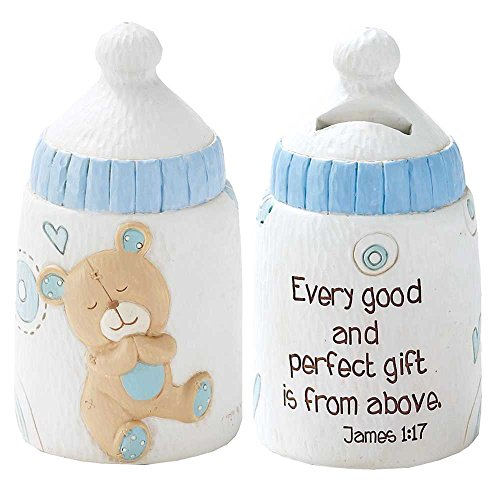 Dicksons Baby Bear Coin Bank For Boy, James 1:17/White