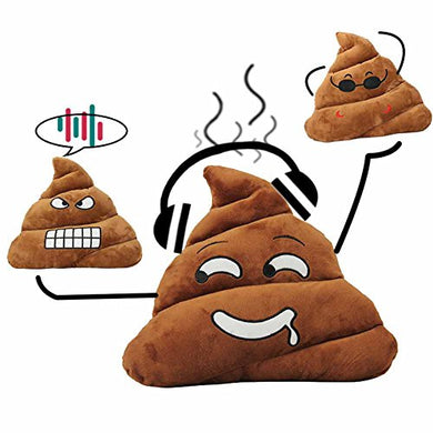 Poop Emoji Pillow, 13.8  Large Poo Face Plush Emoticon Round Cushion For Home, Brown Stuffed Poopy Novelty Decoration Head Doll Toy For Girls, Friends, Valentine Birthday Gift