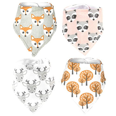 Stadela Baby Adjustable Bandana Drool Bibs For Drooling And Teething Nursery Burp Cloths Unisex Baby Shower Gift Set For Girl And Boy  Woodland Adventure Forest Animal Fox Deer Raccoon Tree