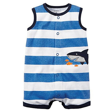 Carter'S Baby Boys' 1-Piece Appliqu Snap-Up Romper (3 Months, Blue Stripe)
