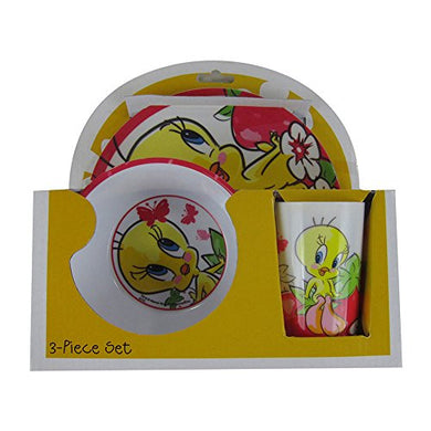 Officially Licensed Looney Tunes Melamine Dinnerware Plate Bowl Cup Set - Tweety