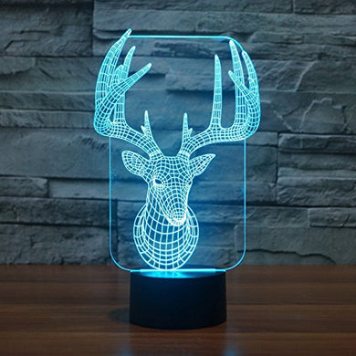 Apltch New Deer 3D Star Optical Illusion 7 Colors Change Touch Switch Led Table Lamp Children'S Night Light Household Bedroom Lighting Home Decoration