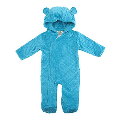 My Blankee Hooded Footie Romper Minky Dot With Ears, Turquoise, 6-12 Months
