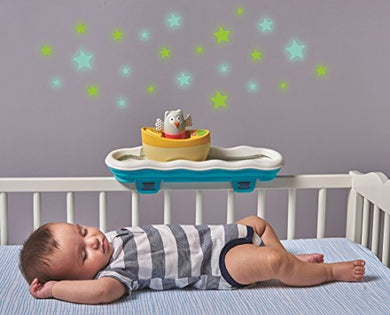 Taf Toys 4 In 1 Musical Boat Crib Toy | Babys Easier Development &Amp; Easier Parenting, Portable, Detachable, Best For Sleep Time, Tummy Time Play &Amp; Crawling, Music &Amp; Colorful Light, For Easy Crawling