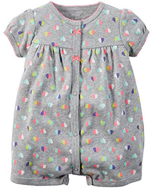 Carter'S Baby Girls 1-Piece Appliqu Snap-Up Cotton Romper (24 Months, Hearts)