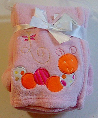 Snugly Baby Embroidered Girl Blanket Pink Worm