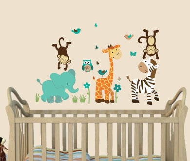 Wild About Teal, Jungle Animal Stickers, Jungle Teal, Elephant Decal, Monkey